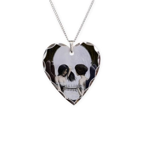 Skull Illusion Necklace Heart Charm