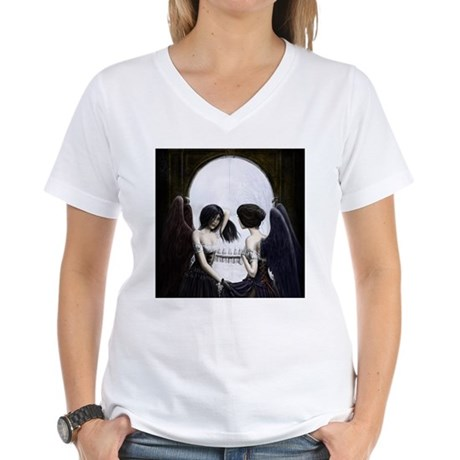 Skull Illusion Women's V-Neck T-Shirt