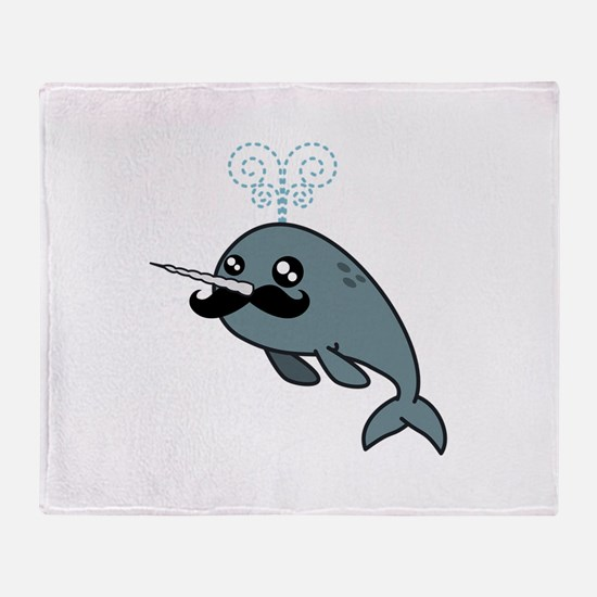 Narwhalstache Throw Blanket