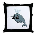 Narwhalstache Throw Pillow