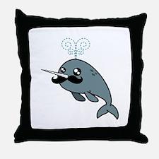 Narwhalstache Throw Pillow