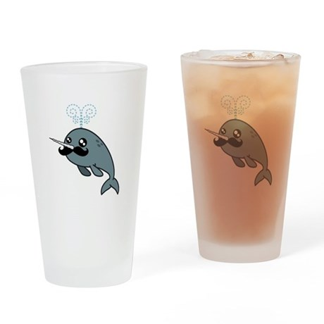 Narwhalstache Drinking Glass