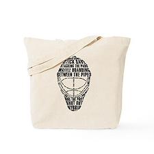 Hockey Goalie Mask Text Tote Bag