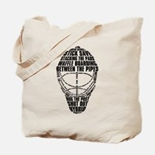 Hockey Goalie Mask Text Tote Bag