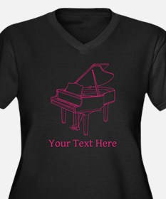 Pink Piano and Custom Text. Women's Plus Size V-Ne