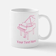 Pink Piano and Custom Text. Mug