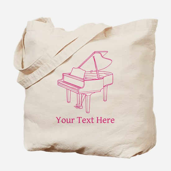 Pink Piano and Custom Text. Tote Bag