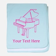 Pink Piano and Custom Text. baby blanket