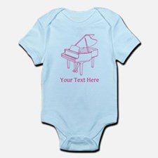 Pink Piano and Custom Text. Infant Bodysuit