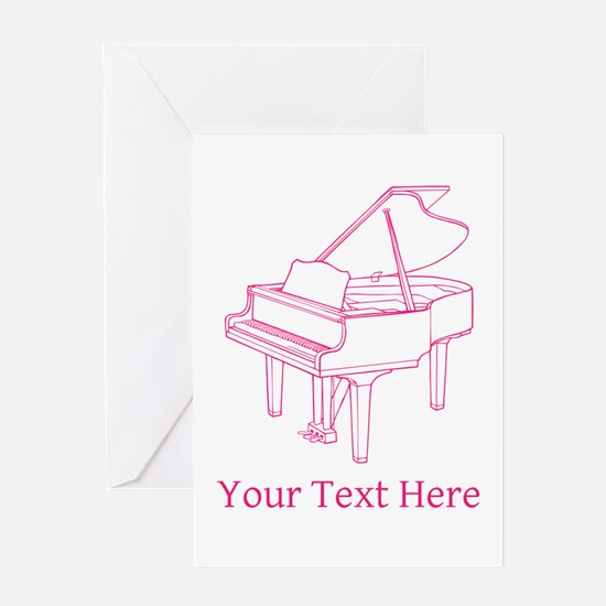 Pink Piano and Custom Text. Greeting Card