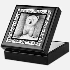 Polar Bear Cub Xmas Snowflakes Keepsake Box