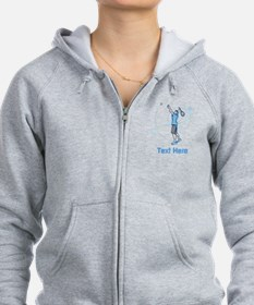 Tennis Serve, with Text. Zip Hoodie