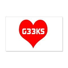 Big Heart G33ks 22x14 Wall Peel