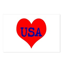 Big Heart Love USA America Postcards (Package of 8
