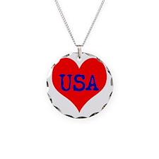 Big Heart Love USA America Necklace