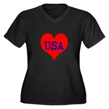 Big Heart Love USA America Women's Plus Size V-Nec