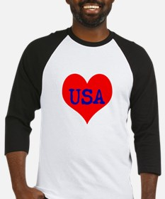 Big Heart Love USA America Baseball Jersey