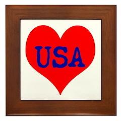 Big Heart Love USA America Framed Tile