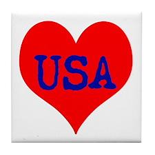 Big Heart Love USA America Tile Coaster