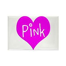 I Heart Pink Rectangle Magnet (100 pack)