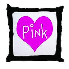 I Heart Pink Throw Pillow