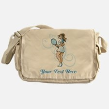 Female Tennis Player. Text. Messenger Bag