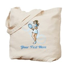 Female Tennis Player. Text. Tote Bag