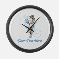 Female Tennis Player. Text. Large Wall Clock