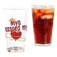 Mya Lassoed My Heart Drinking Glass