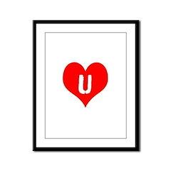Heart U iheart You I Love Framed Panel Print