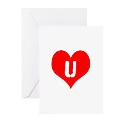 Heart U iheart You I Love Greeting Cards (Pk of 20