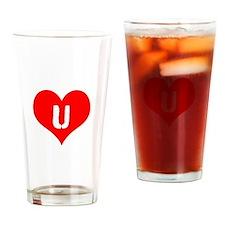 Heart U iheart You I Love Drinking Glass