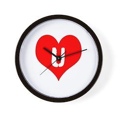 Heart U iheart You I Love Wall Clock