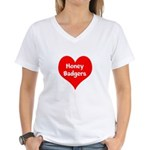 Big Heart Honey Badgers Women's V-Neck T-Shirt