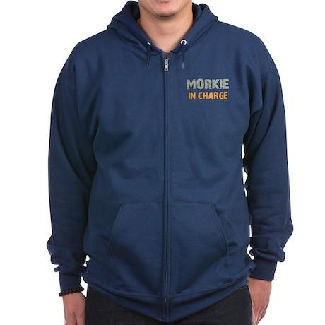 Morkie IN CHARGE Zip Hoodie (dark)