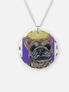 French Bulldog Smile Necklace Circle Charm