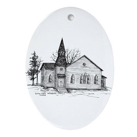 Old Country Church Ornament (Oval)