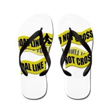 Field Hockey Crime Tape Flip Flops