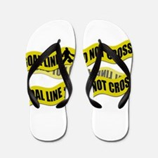 Field Hockey Crime Tape Flip Flops