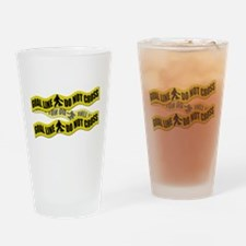 Field Hockey Crime Tape Drinking Glass