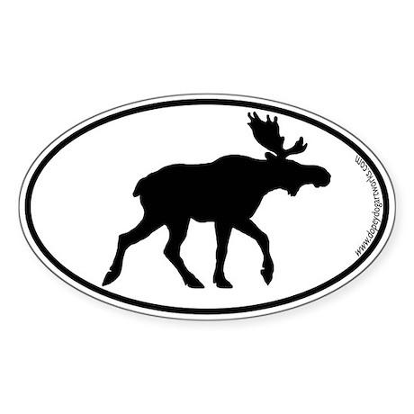 Moose SILHOUETTE Oval Sticker (50 pk)