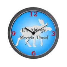 MOOSE TIME Blue Wall Clock