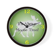 MOOSE TIME Green Wall Clock
