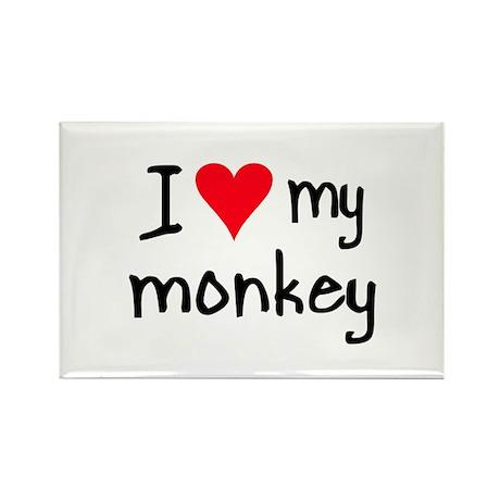I LOVE MY Monkey Rectangle Magnet