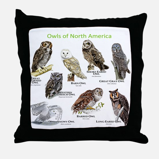 Owls of North America Throw Pillow