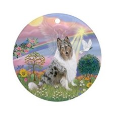 CloudAngel-Collie (B) Ornament (Round)