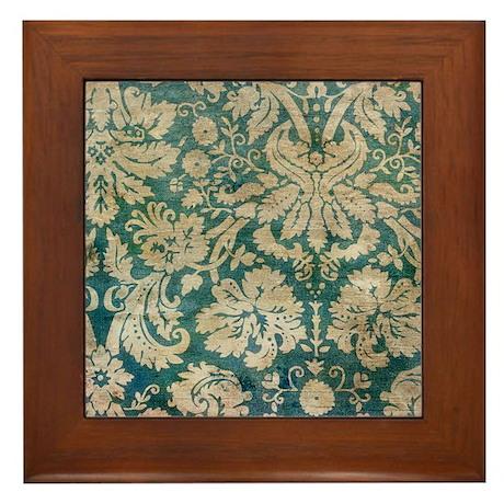 Antique Grunge Damask Framed Tile