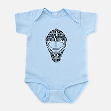 Hockey Goalie Mask Text Infant Bodysuit