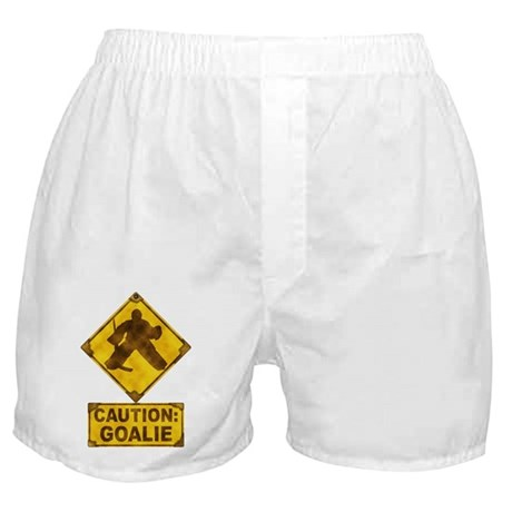 Hockey Goalie Caution Sign Boxer Shorts