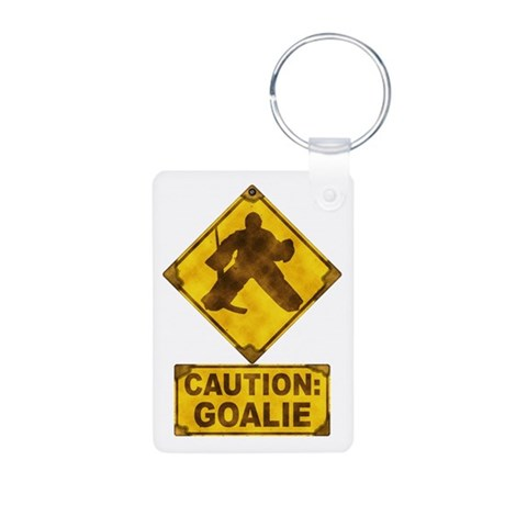 Hockey Goalie Caution Sign Aluminum Photo Keychain
